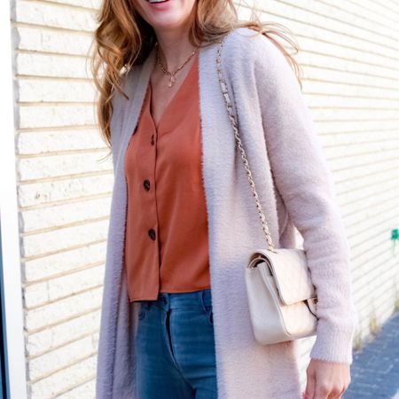 Long cardigans paired with a simple blouse and a good pair of denim. The perfect fall outfit! | #falloutfits #longcardigan #fallcardigans #falldenim #designerpurse #dinnerdateoutfit #brunchoutfit #JaimieTucker   #LTKstyletip #LTKSeasonal