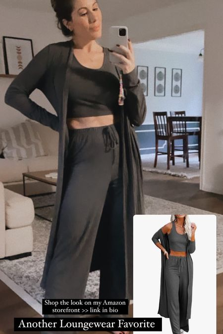 Perfect loungewear set for fall.  Wide-legged pants with crop top and matching duster.  Love this set!!   #LTKSeasonal #LTKfit #LTKunder50