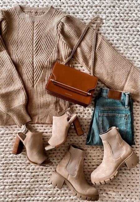 Fall fashion, Strathberry bag, Madewell jeans, tan boots, Amazon sweater, Amazon fashion, Amazon finds  #LTKshoecrush #LTKunder50 #LTKSeasonal