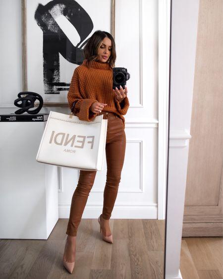 Fall outfit ideas  Goodnight Macaroon take 40% off with code MARIA40 now Orange / camel chunky knit sweater  Joe's jeans camel pants wearing a 23 Fendi Sunshine tote   #LTKsalealert #LTKunder50 #LTKunder100