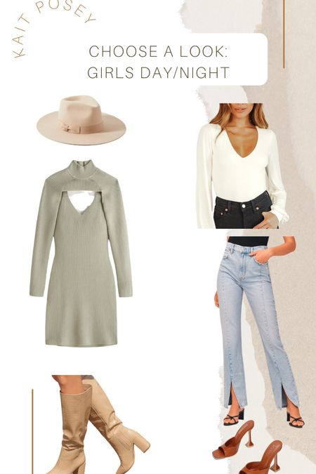 Girls night out / winery day outfit  Abercrombie dress  Urban outfitters hat  Lulus jeans