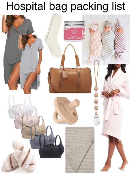 My hospital bag packing list is complete! Time for baby to arrive! 💗Ugg robe - favorite ever  💗Button up night dress- I wear small & have both gray colors . 💗cozy cross slippers in memory foam  💗barefoot dreams socks  💗nipple butter  💗comfy nursing bras  💗best weekender bag!  💗striped baby swaddles with caps  💗boll & Branch knit blanket  💗newborn pacifier and clip http://liketk.it/2Vo9M #liketkit @liketoknow.it #LTKbump #LTKbaby #LTKsalealert @liketoknow.it.family