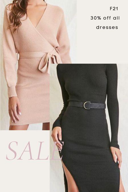 Fall dress, fall dresses, forever 21 sale, sweater dress, wrap dress, black dress, belted dress  #LTKunder50 #LTKsalealert #LTKunder100