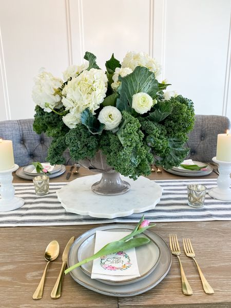 Happy Easter!  . . . We love celebrating this special occasion with an amazing tablescape filled with flowers, vases, gold silverware, table runner, spring place settings, and so much more.     #LTKhome #LTKSeasonal #LTKSpringSale