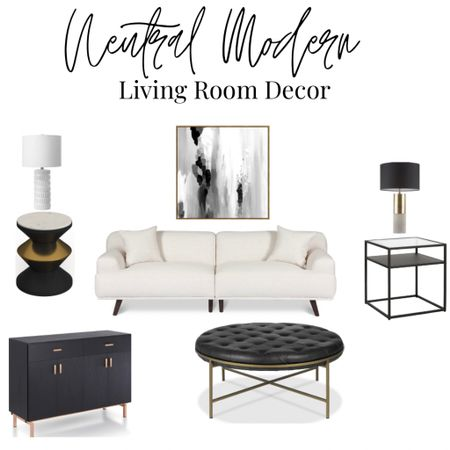 Neutral modern living room decor and furniture. White sofa. White sectional. Black and gold ottoman. Modern end table. Black side table. Black side board. Modern credenza. Neutral lamps. Modern table lamps. Abstract art. Neutral art   #LTKhome #LTKstyletip