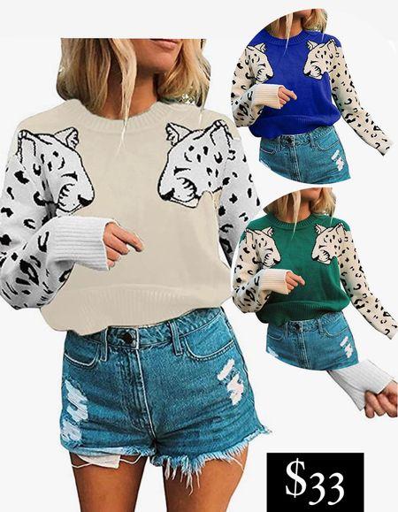 Amazon fashion finds Spotted animal print sweater pullover blouse dotted Dalmatian leopard cheetah print top   #LTKworkwear #LTKunder50 #LTKSeasonal