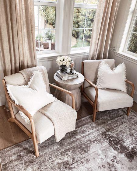 Living room styling, simple home decor, neutral home decor, affordable chairs, side table styling, StylinAylinHome  #LTKstyletip #LTKunder100 #LTKhome