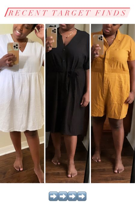 Three recent plus size finds from Target! Wearing a size XXL in the white and yellow and a 1X in the black short dress. http://liketk.it/3fMUl #liketkit @liketoknow.it