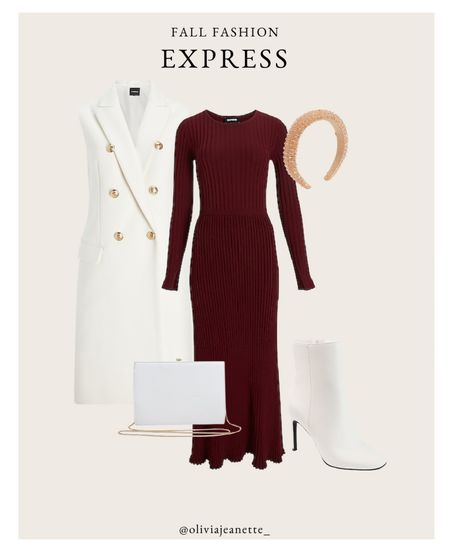 Head to toe Express look with my new favorite midi dress. 🍂 #ExpressPartner #ExpressYou    #LTKHoliday #LTKunder100 #LTKSeasonal