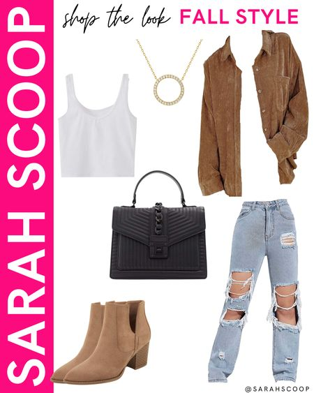 We love a tan shacket over here at SarahScoop! Find out why with this super cute outfit featuring a tan shacket from Amazon! 🤎🍂  #tan#tanshacket#shirt#jacket#white#whitetanktop#rippedjeans#baggyjeans#black#blackpurse#tanheels#booties#boots#goldhoopnecklace#fallfashion#fall#outfit#inspiration#Amazonfinds#Amazon#primewardrobe#amazonfashion  #LTKunder100 #LTKSeasonal #LTKstyletip