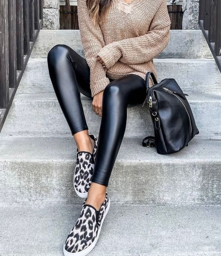 Fall outfits, fall fashion, faux leather pants, sweaters, handbags, outfits for fall, fall clothing, leggings, leather leggings, nude sweaters, cozy fall outfit, #fall  #LTKunder100 #LTKSeasonal #LTKstyletip