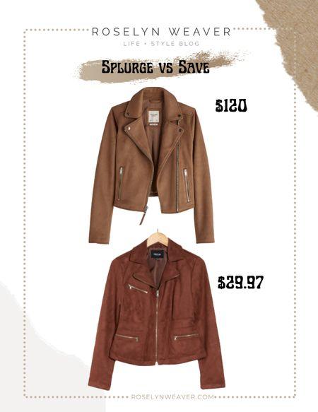 Splurge vs save - brown suede moto jacket   #LTKunder100 #LTKsalealert #LTKunder50