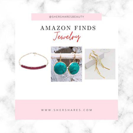 Cute jewelry on Amazon, turquoise earrings, delicate bracelet and gold slinky earrings.   #LTKstyletip