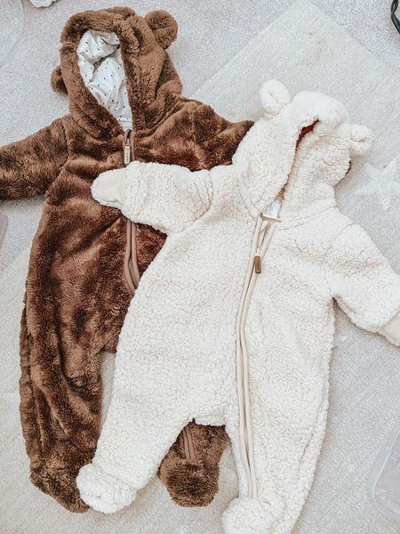 fleece zip-up bear suits 🐻   #LTKbaby #LTKunder50 #LTKSeasonal