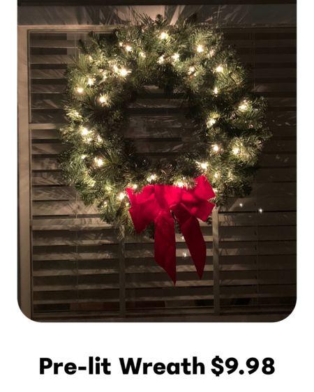 Christmas wreath, Christmas decor, holiday decor, pre-lit wreath, outdoor Christmas decor, holiday decor, Christmas tree, red Christmas bow http://liketk.it/31ChP #liketkit @liketoknow.it #LTKsalealert #LTKunder50 #LTKhome