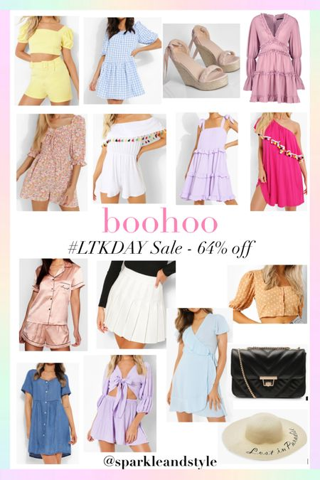 LTK Day Sale: boohoo - 64% off    http://liketk.it/3hz08 @liketoknow.it #liketkit #LTKsalealert #LTKunder100 #LTKDay   Summer fashion, summer styles, summer clothes, summer dresses, summer shoes, summer bags, summer purses, summer skirts, summer hats, summer accessories, two piece set, top and shorts set, gingham dress, braided espadrille tie up wedges, ruffle dress, floral romper, off the shoulder Tassel romper, tie up sleeve dress, one shoulder Pom Pom dress, silk satin Pajama pj set, tennis pleated skirt, wrap dress, polka dot top, chambray dress, quilted purse, floppy sun hat, wrap crop top and shorts set