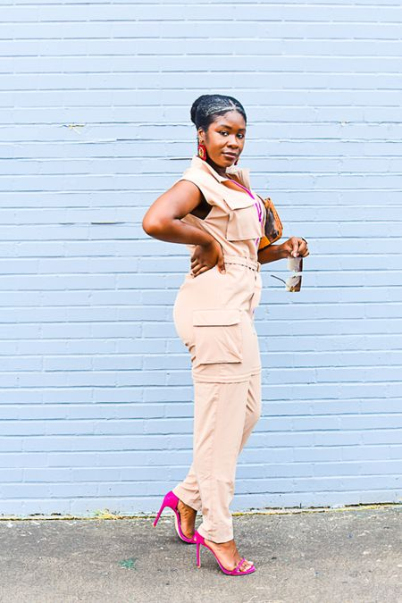 70% off right now! This versatile utility jumpsuit that works for day-to-night activities is a late summer must. And the pant legs zip away to show a lil leg 🦵🏾   Khaki romper Cargo Date night outfit    #LTKstyletip #LTKunder50 #LTKsalealert