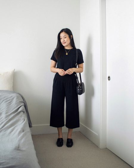 Why hello, if it isn't me in a full monochrome black look 😏 A simple outfit consisting of a black tshirt and wide leg cropped pants 🖤  #LTKstyletip #LTKSeasonal #LTKunder50