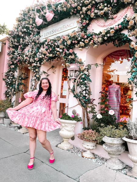 Floral & pink queen, who? 💐👑 I finally got to shoot at the iconic Love Shack Fancy store on Melrose Ave. 🌸 It's been on my list for a while and I've been meaning to go there! It was one of the last places I wanted to take photos at a few weeks before I left LA to travel.📷 I couldn't resist the girly vibes and it fits my aesthetic perfectly. 💖 I can't believe I didn't go here sooner! 😍 Also I never got around to wearing my Target x Love Shack Fancy dress they came out with the collaboration before. 👗 I bought four of the dresses but never have a reason to wear them or a place to dress up for. ✨ Maybe I should just start wearing my pretty princess dresses as an everyday thing? 👸🏻Since you obviously can't get my dress anymore, I've linked similar options that are affordable and perfect for any girly girl dress lover like myself! 💗 What is a location you've been dreaming to shoot at? 🤔  #LTKunder50 #LTKcurves