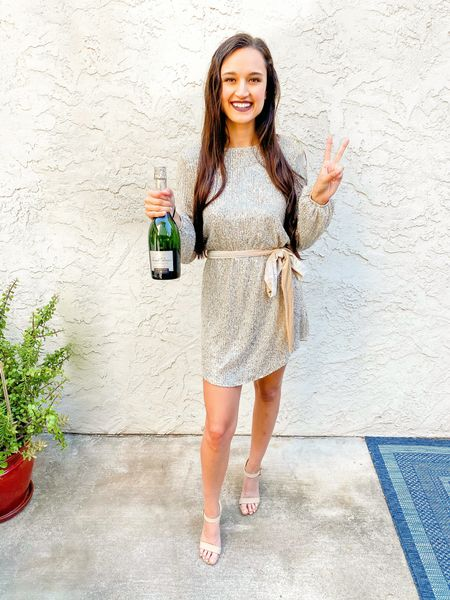 Gold sequin dress with tie. Perfect date night or holiday dress / outfit!   #LTKstyletip #LTKunder50 #LTKHoliday