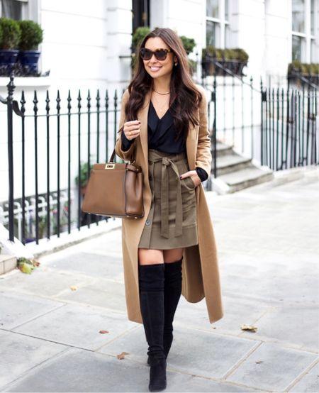 Camel coat and black boots. #fallstyle #boots  #LTKstyletip #LTKshoecrush