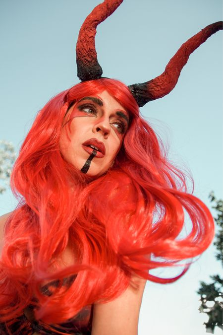 Halloween Costume Idea: Devil 👹  Found this beautiful red wig for only $13.99 on Amazon Prime! ♥️ Don't wait because the prices may increase closer to Halloween! (I originally bought it for $7!)  Similar horns linked! These were DIY'd ✂️  #LTKSeasonal #LTKunder50