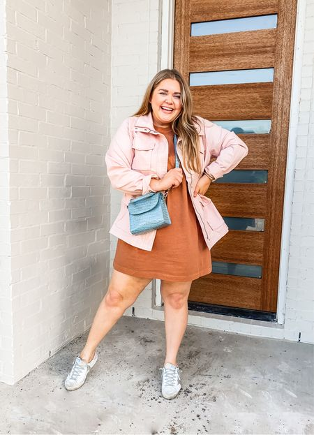 Amazon pink jacket plus size. Wearing xxl. Plus size T-shirt dress. Wearing xxl. Sold out crossbody bag. Golden goose sneakers.   #LTKunder50 #LTKunder100 #LTKcurves