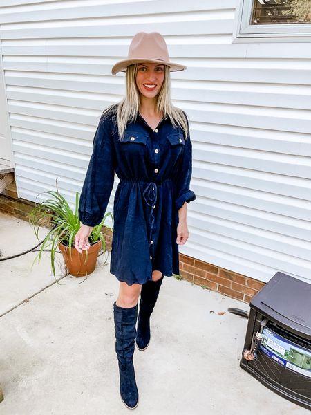 Amazon fall black dress, tall black boots , fall hat   #LTKSeasonal #LTKunder100 #LTKunder50