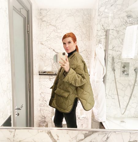 """Day 1 in London and I pulled out my Frankie coat (the one I told you was trending for fall). I'm wearing my favorite turtleneck (I have it in multiple colors and also bought backups- it's the best thin layer.)  My jeans are Anine Bing and a size 27. I would say they are TTS. They are very comfortable.  And I brought my cowboy boots to London - you know, to own the whole """"Texas"""" thing 😉   #LTKtravel #LTKworkwear #LTKeurope"""