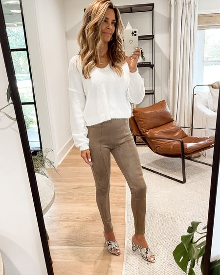 Spanx faux suede leggings, soft free people cropped sweater that sells out fast! Use discount code: FashionedlifeXSpanx #Herfashionedlife  #LTKSeasonal #LTKunder100 #LTKstyletip