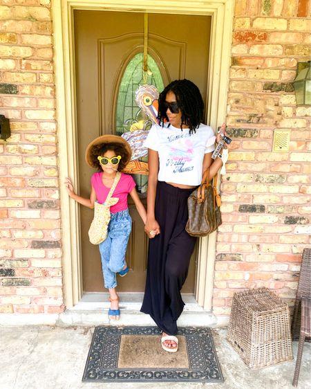 Mini's look: Fedora + Kid sunnies from Target + Kids' paperbag jeans  Mommy: Square Oversized Sunglasses+ Black beach palazzo pants  http://liketk.it/3hoFG #liketkit @liketoknow.it #LTKfamily #LTKkids #LTKunder100