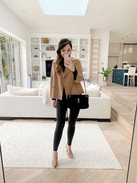 Autumn ready transitional outfit! Featuring a short camel pea coat teamed with Spanx faux leather leggings, nude mid height heels and a Saint Laurent Boucle Loulou bag.   I took a size small in the faux leather leggings and a XS in the sweater. Heels I found TTS (I take a 37.5) ❤️  You can use code 10YTAMIE for 10% off the Saint Laurent bag! ✨  Sadly the coat is several years old and sold out now. Brand is S Max Mara ❤️