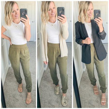 3 ways to wear green joggers in a dressy way.   #LTKunder50 #LTKstyletip #LTKunder100