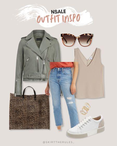 Nordstrom Anniversary Sale, NSale, Nordstrom sale: sage green moto jacket, tortoise sunglasses, leopard tote bag, straight ankle jeans, beige tank, white sneakers, gold stacking rings. @liketoknow.it http://liketk.it/3jP28 #liketkit #LTKsalealert #LTKstyletip #LTKitbag