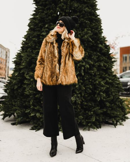 Faux fur coat for $103 Madewell Emmett pants 30% off with code OHWOW Target knit beanie Clip in hair extensions  http://liketk.it/2Ino4 @liketoknow.it #liketkit #LTKholidaystyle #LTKunder100 #LTKsalealert winter outfits, winter coats, fur coats, ASOS