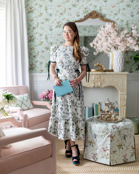 Wearing a Nicola Bathie x Antonio Melani for Dillards floral puff sleeve midi dress and green velvet crystal embellished platform sandals  #LTKshoecrush #LTKstyletip #LTKsalealert