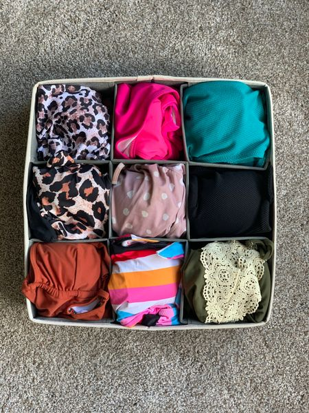 How I organize my swimsuits with a bra/sock organizer in my closet.   #LTKstyletip #LTKunder50 #LTKswim