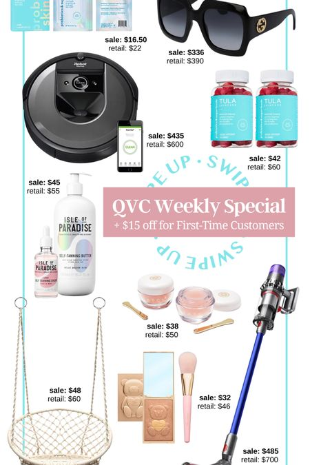 QVC sale! QVC weekly deal + extra $15 off $50 for first-time shoppers! Dyson vacuum sale home and garden home sale iRobot robot vacuum Tula vitamins gummy vitamins Tula probiotic skincare eye gel eye cooling mask hanging swing chair hammock chair boho decor inspo isle of paradise tanning drops self tan tatcha lip mask hydrating face mask Gucci sunglasses Gucci sale designer sale discount luxury bronzer and blush too faced bronzer gift for her housewarming gift gift for mom gift for dad Father's Day gift #LTKunder50 #LTKhome #LTKsalealert http://liketk.it/3hLLu #liketkit @liketoknow.it