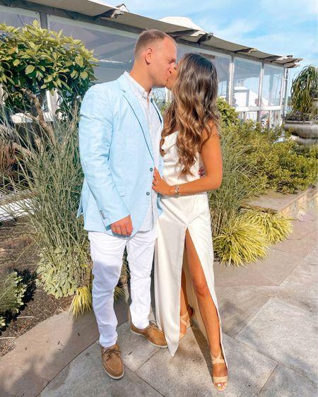 Wedding Rehearsal Side Slit White Dress   http://liketk.it/3hIot #liketkit @liketoknow.it @liketoknow.it.brasil @liketoknow.it.europe @liketoknow.it.family @liketoknow.it.home #LTKwedding #LTKstyletip #LTKtravel