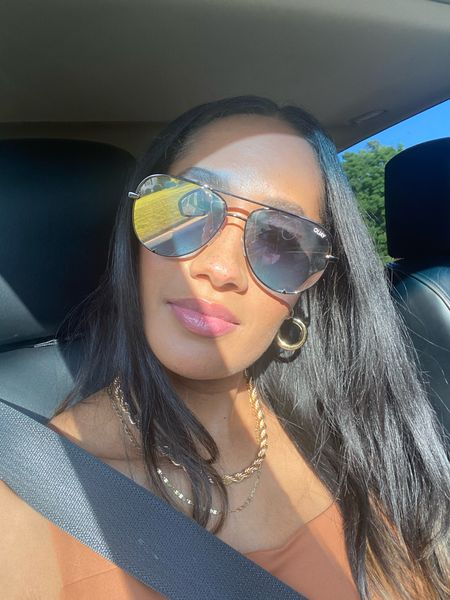 Happy Tuesday!    Just a simple car selfie for the gram 😊  I am not the biggest accessory person, but am learning accessories can truly elevate a look.  I LOVE these Quay Australia High Key Mini Sunglasses.  I always feel so sassy in them!    The Styled Collection makes some of my favorite jewelry!  Both of my necklaces are by them and are of great quality!  Right now, their having a great sale on their website and my rope necklace is under $30!    And we can't forget Amazon Fashion! My earrings are only $12!  I've them for over 6 months and they haven't faded at all!  Also, my top is a very comfy and fashionable body suit and it's from Amazon as well for under $20!  All my accessories and my top are linked on my Like to Know It page.  And don't forget to follow me there too!   #LTKunder50 #LTKunder100 #LTKsalealert