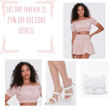 Summer dressy co ord outfit   Save 25% off at forever 21 in the final day of the LKTDAY sale  use code LKTxF21   Co ord Heels  Cross body bag  #lktit #coord #style #outfit #forever21   #LTKSeasonal #LTKsalealert #LTKstyletip