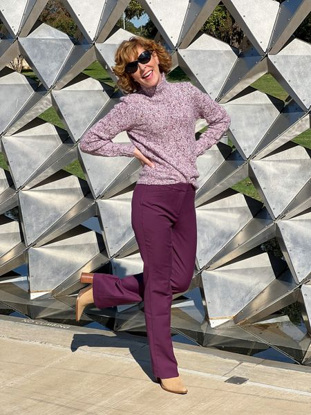 Bootcut pants, burgundy pants, plum pants, stretch slim pants, merlot pants, bootcut slacks, mock neck sweater, pullover sweater, taupe booties, pointed toe booties, sunglasses  These comfort slim stretch bootcut pants in plum are WHBM best-sellers. They're wrinkle-resistant and have a bi-stretch function that makes them move with you! I paired them with a marked plum mock neck sweater that can be worn tucked or untucked.  #LTKSeasonal #LTKshoecrush #LTKstyletip