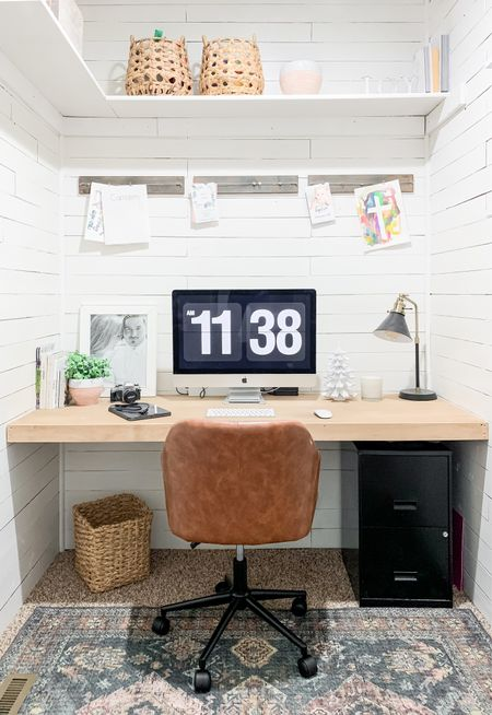 """Work from home space. Closet turned office - the """"Cloffice."""" Neutral office design inspo.   #LTKhome #StayHomeWithLTK"""