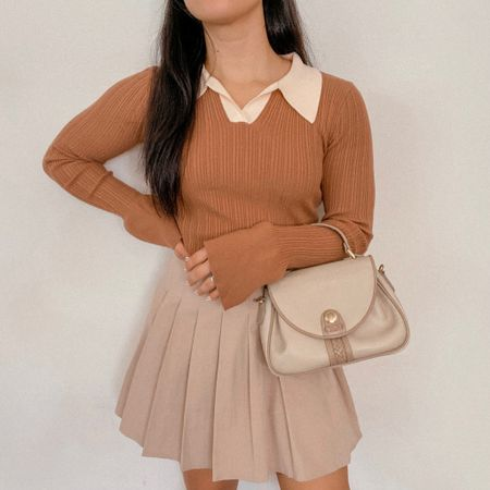 Get 15% off SHEIN with my discount code: Q3YGJESS  fall outfits, fall style, fall outfit inspo, fall outfit ideas, sweater, collar long sleeve top, tennis skirt, pleated skirt, beige satchel bag purse   #LTKitbag #LTKSeasonal #LTKsalealert