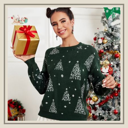 Christmas tree pattern holiday sweater from Shein   #LTKHoliday #LTKstyletip #LTKunder50