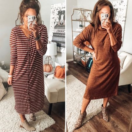 Dresses are 50% OFF at Old Navy. These cuties fit TTS   Sale, old navy, dresses, fall outfits, fall dresses, sweater dresses, midi dress, fall, workwear, weekend outfits, date night #ltkfall  #LTKunder50 #LTKworkwear #LTKsalealert
