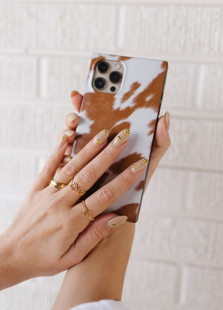 Cute ring stack - happy face rings and gold stack   phone case - flauntcases     #LTKstyletip #LTKGifts