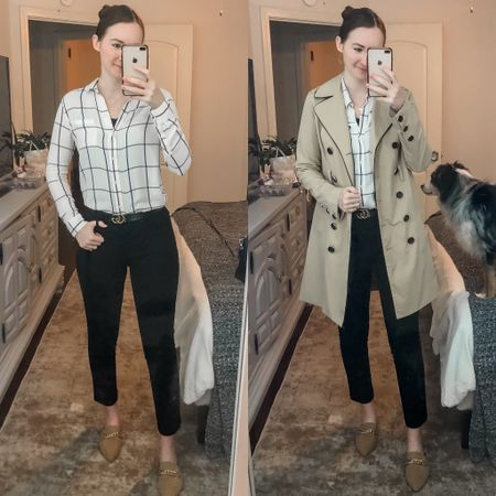 Business casual, work wear, office outfit, wear to work, real estate agent, realtor outfit, trench coat   #LTKworkwear