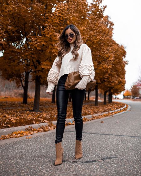 Fall family photo outfit ideas  Shopbop faux leather pants on - Wearing a 24 Bottega Veneta the pouch   #LTKunder100 #LTKstyletip #LTKshoecrush