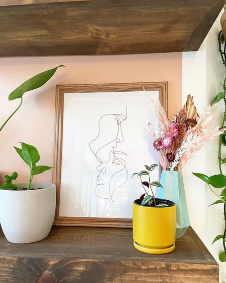 Slowly, but surly getting our diy wall arch shelves styled into the perfect shelfie — starting with this beautiful artwork. While the shelves will be (and already are) full of plants, I wanted other stylized pieces on the shelves to round it out. Comment a 🖤 if you love it! #lindzathome   #LTKhome
